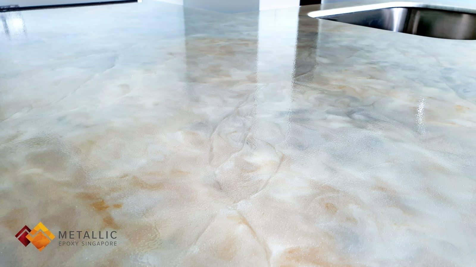 Metallic Epoxy Singapore White Mixed Marble Countertop