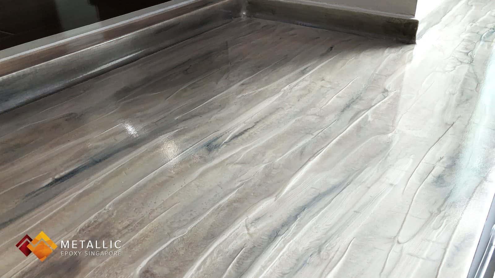 Metallic Epoxy Singapore Natural Grey Wood Countertop