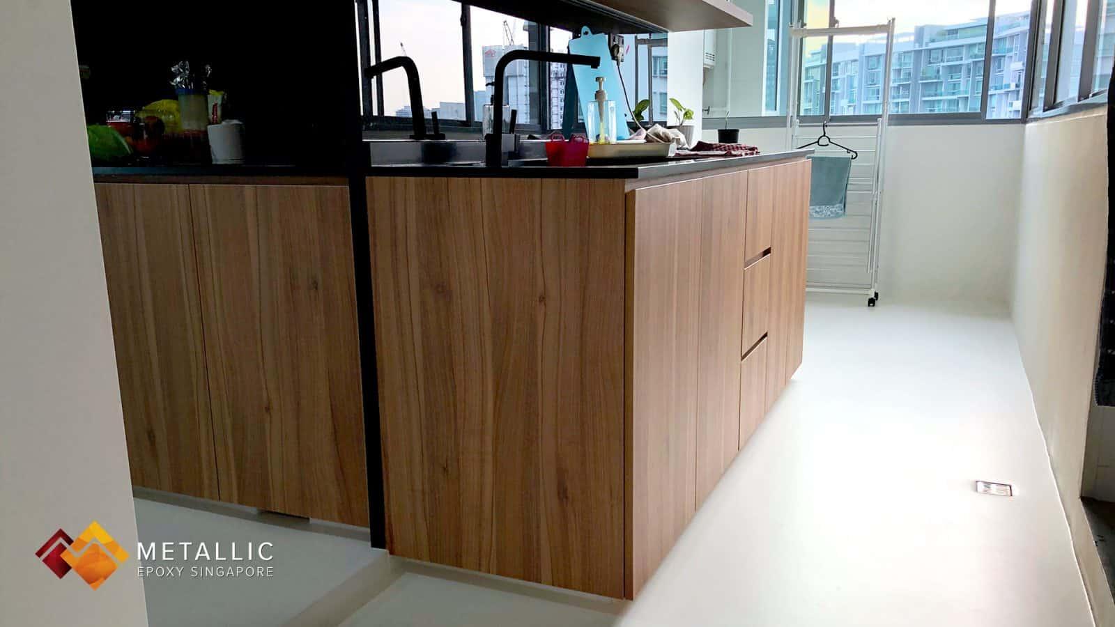 Metallic Epoxy Singapore Pure White Marble Theme Design Flooring