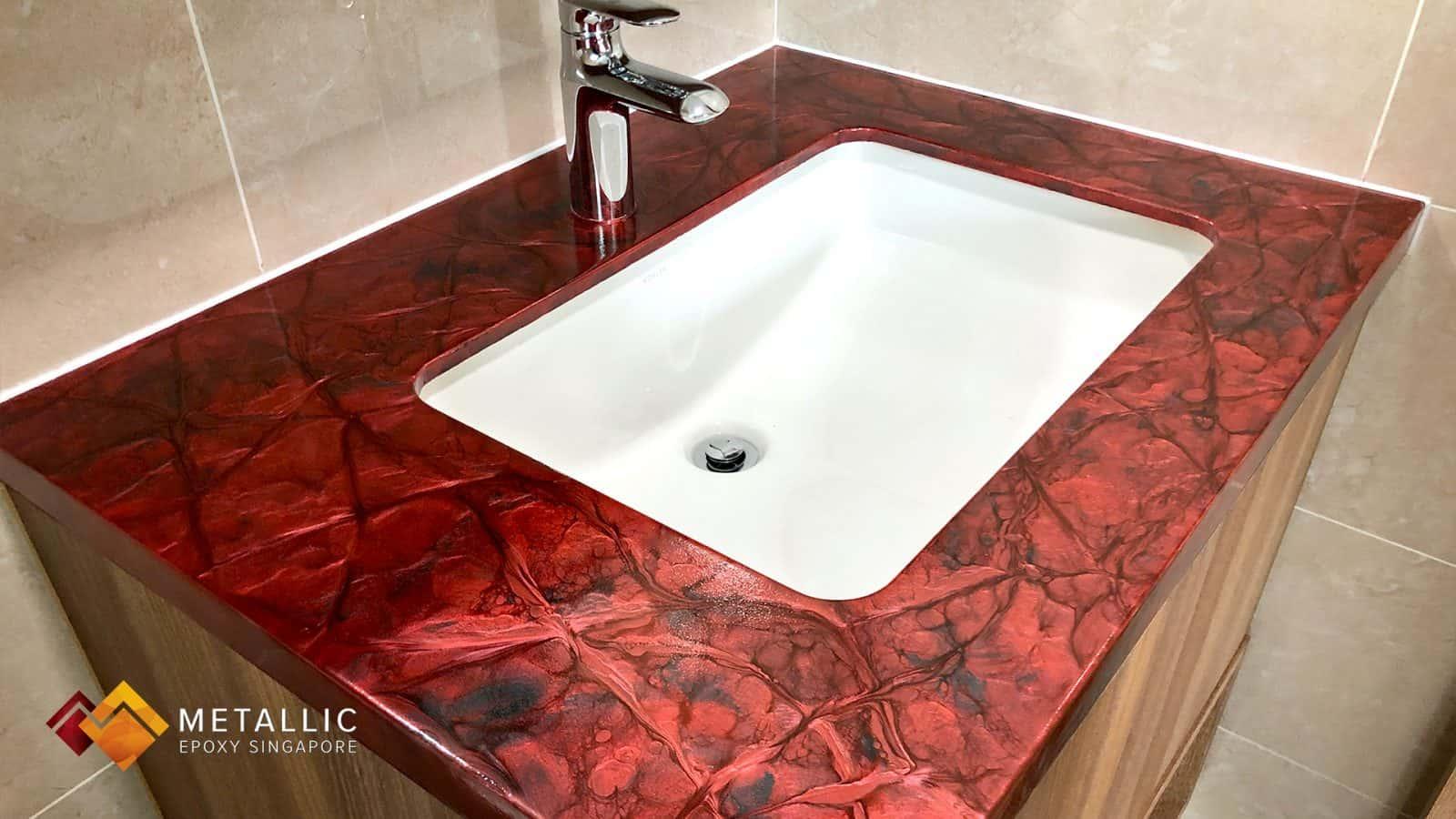Metallic Red Vanity Top