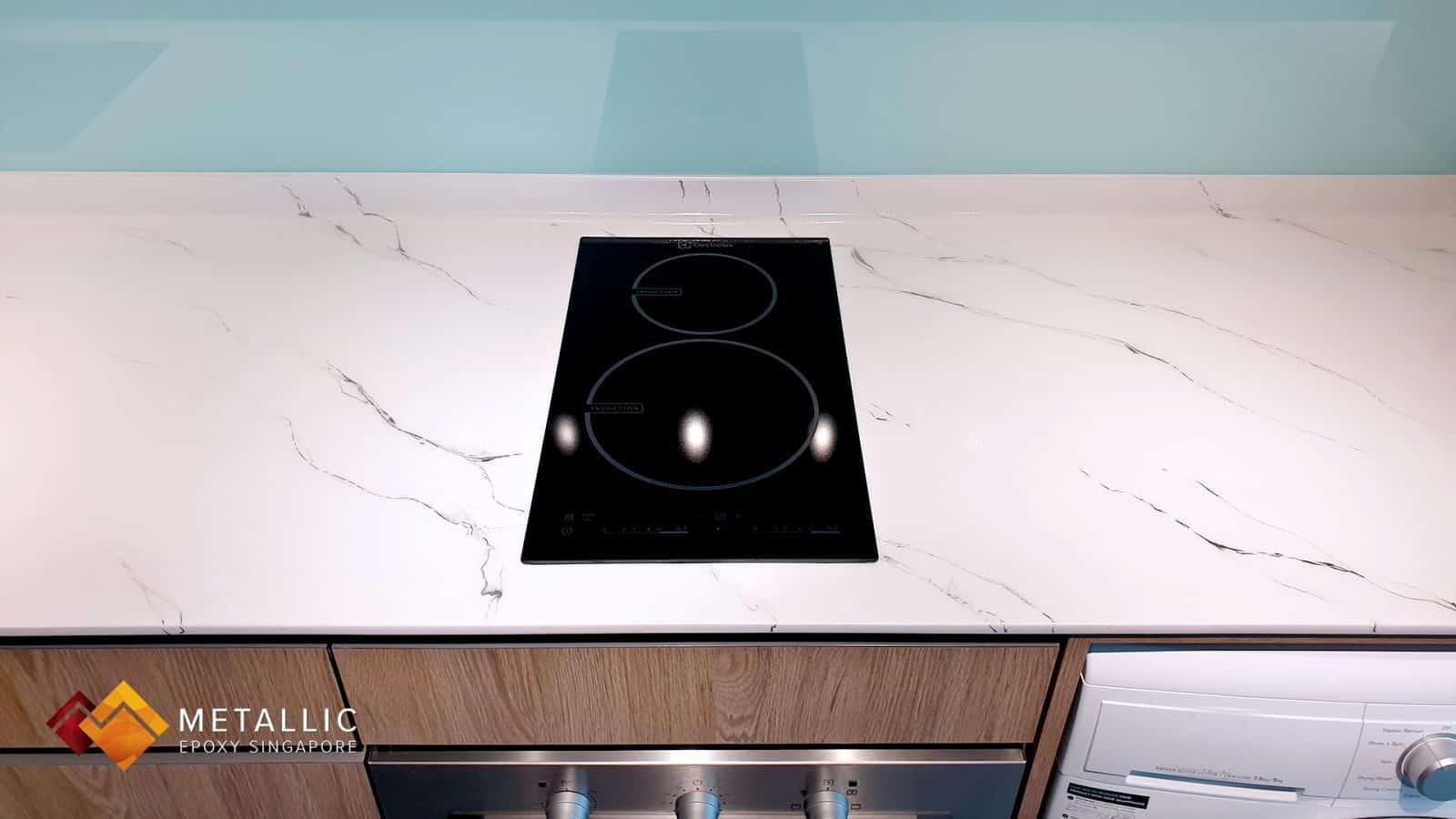 Metallic Epoxy Singapore Carrara White Marble Countertop