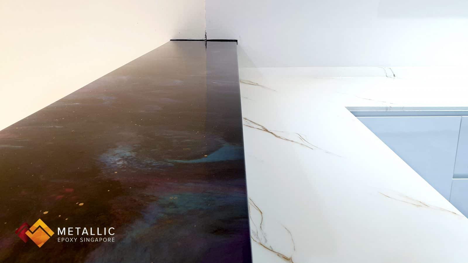 Metallic Epoxy Singapore Natural White Marble Countertop