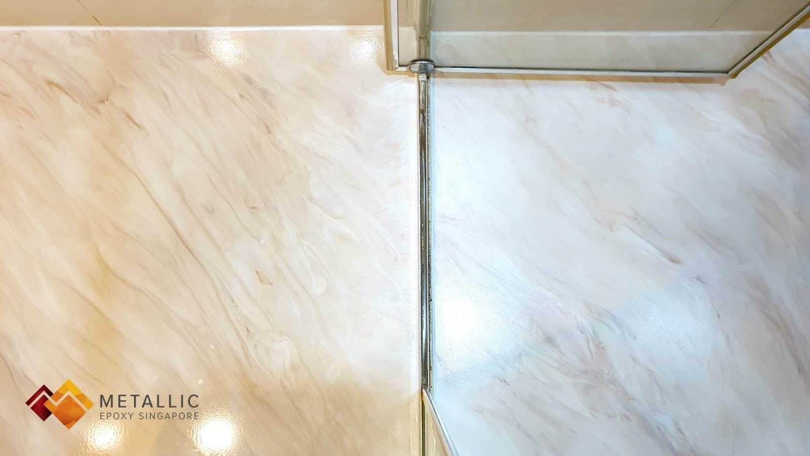 Metallic Epoxy Singapore Burdur Beige Bathroom Flooring