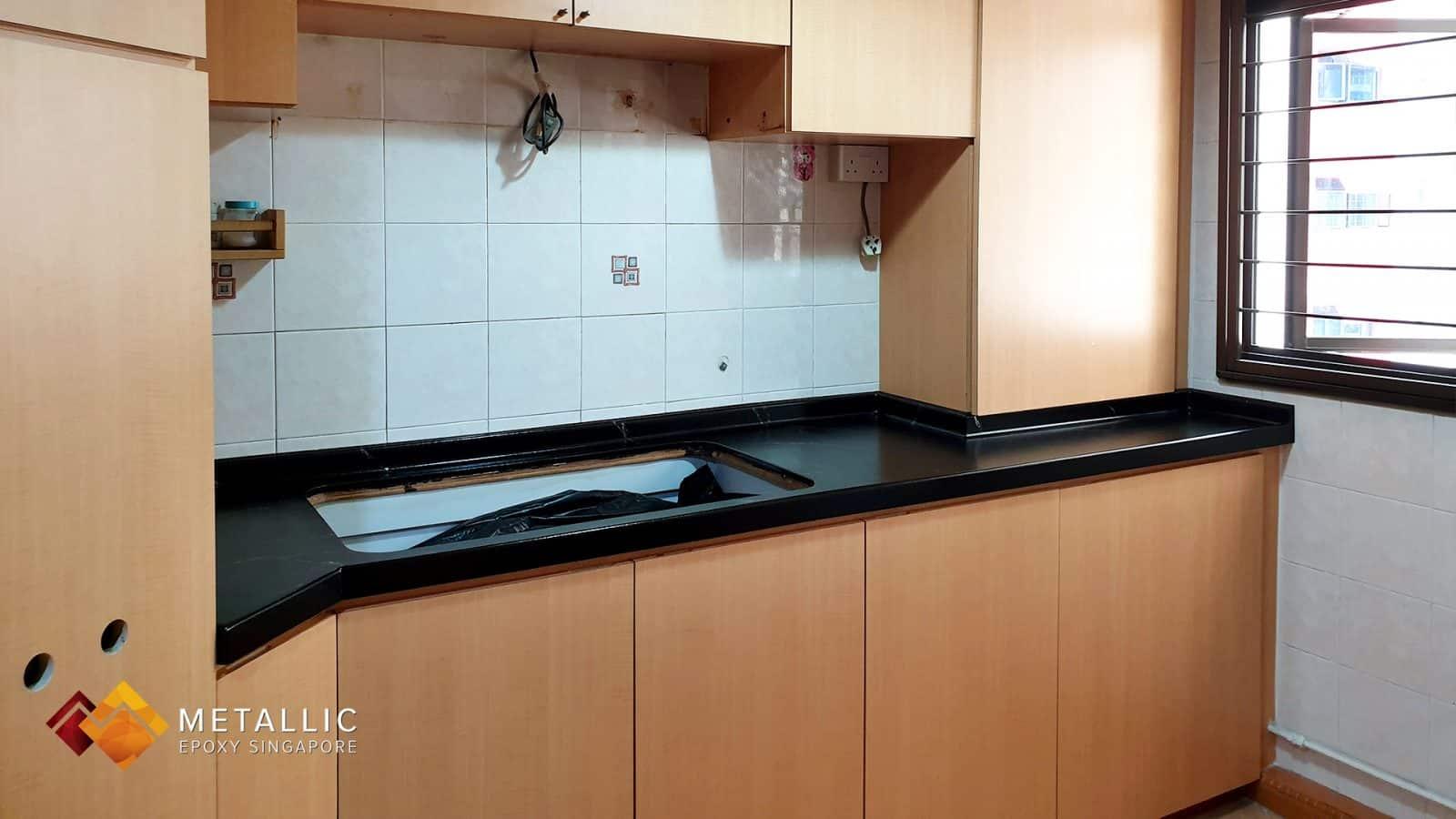 Metallic Epoxy Singapore Matte Black Silver Countertop