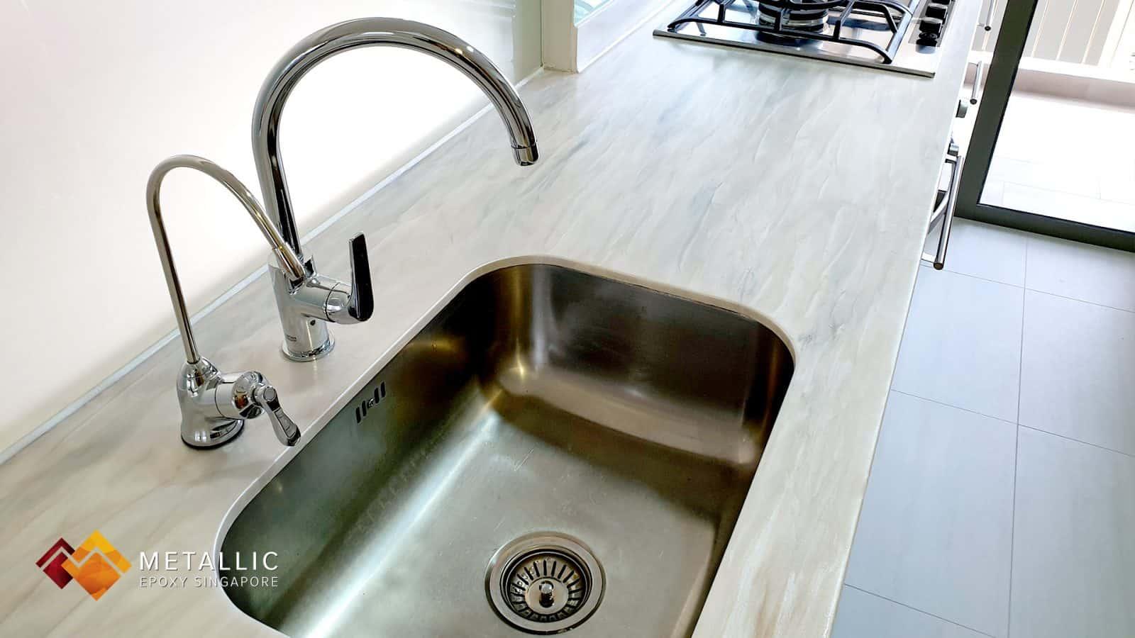 Brown wood kitchen countertop