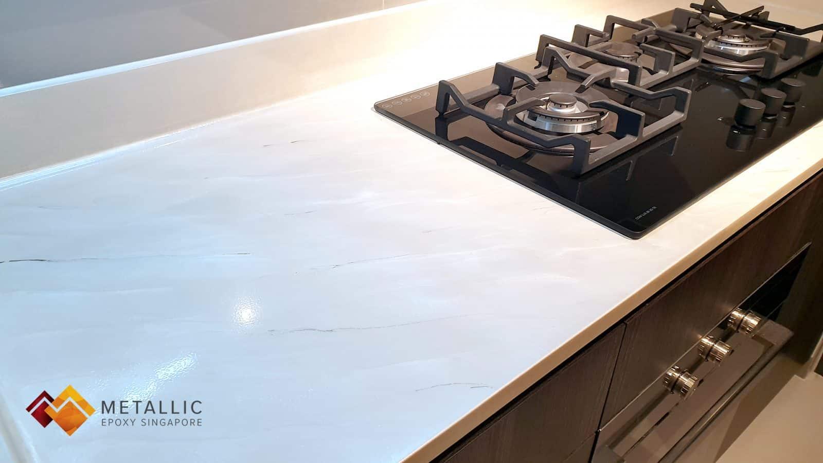 Metallic Epoxy Singapore Cannoli Cream Marble Countertop
