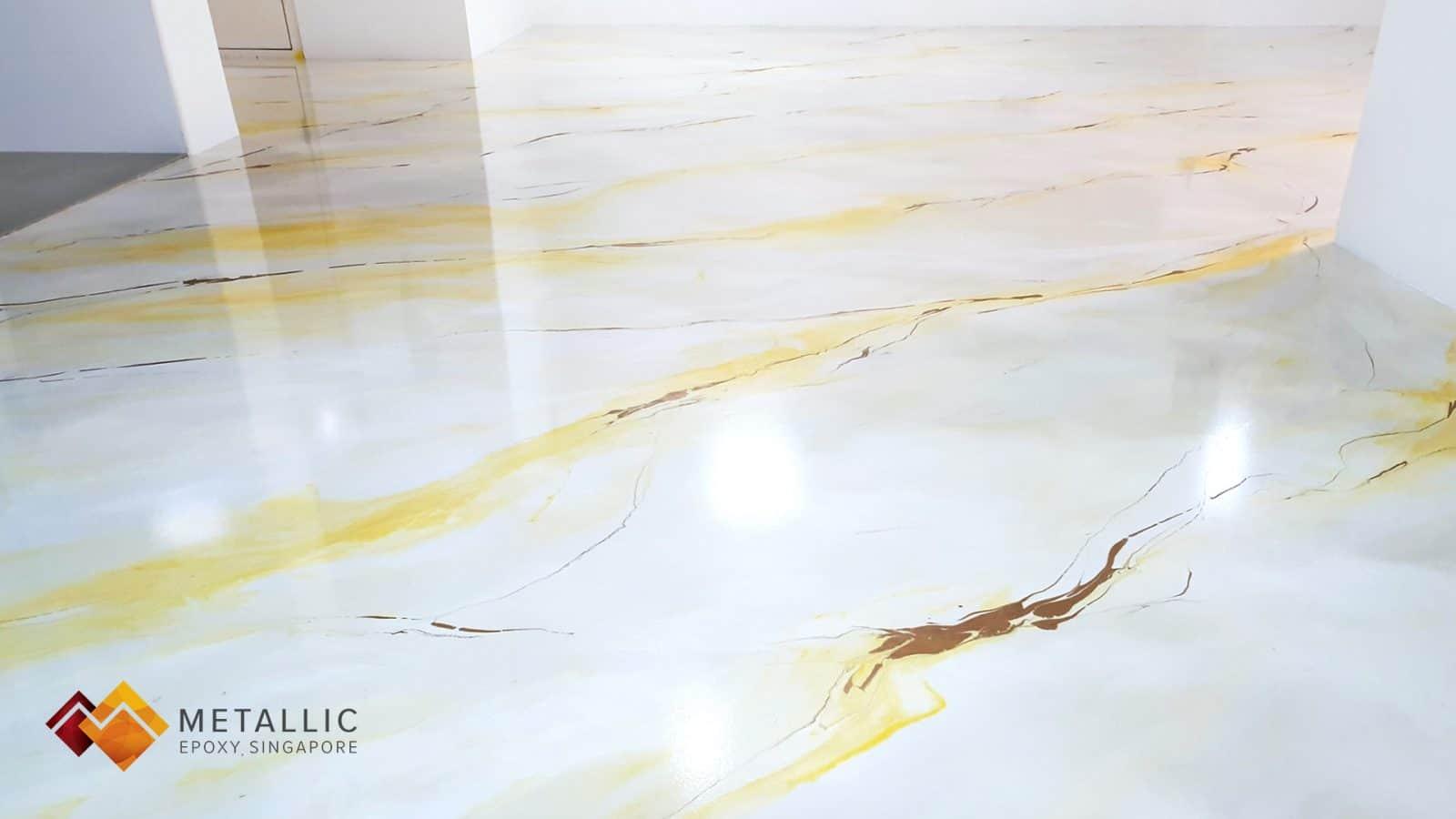 Metallic Epoxy Singapore Lemon Yellow Marble Flooring