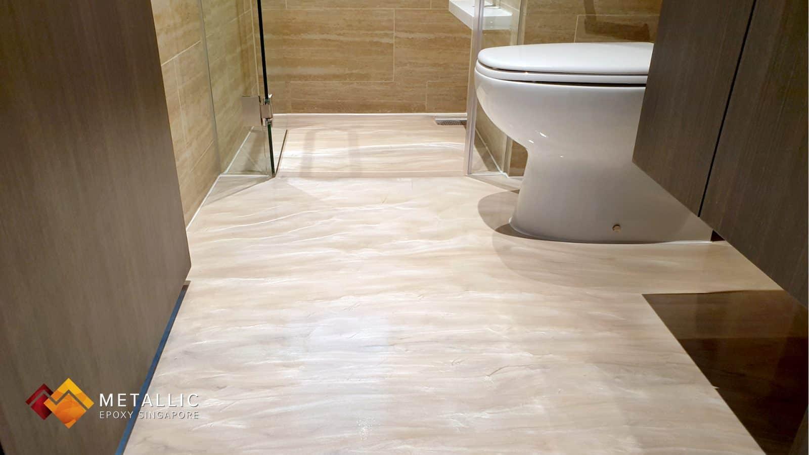White Coffee Bathroom Flooring