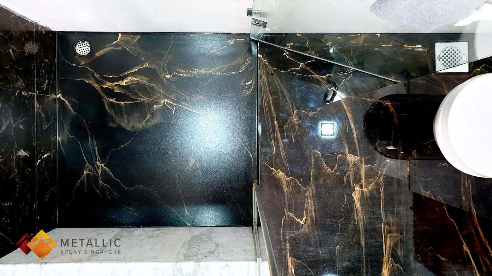 Metallic Epoxy Singapore Gold Veins Bathroom Flooring