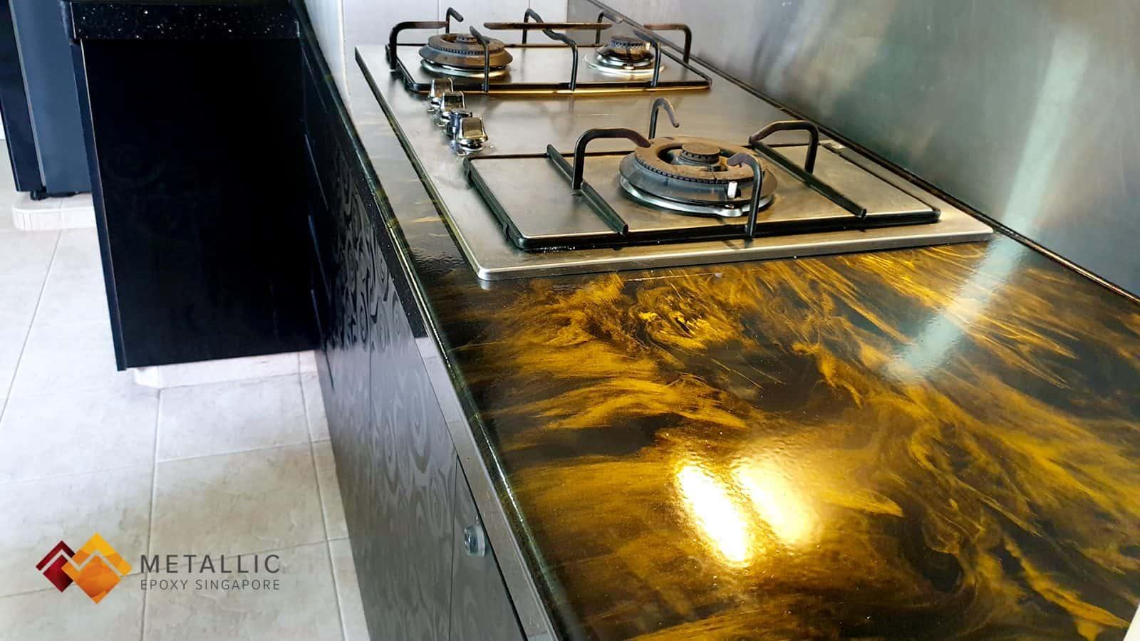 Metallic Orange Gold Countertop