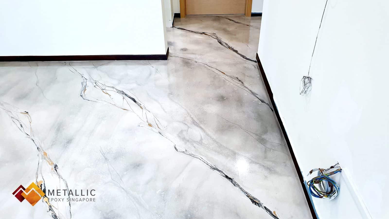Metallic Epoxy Singapore Harlequin White Marble Flooring