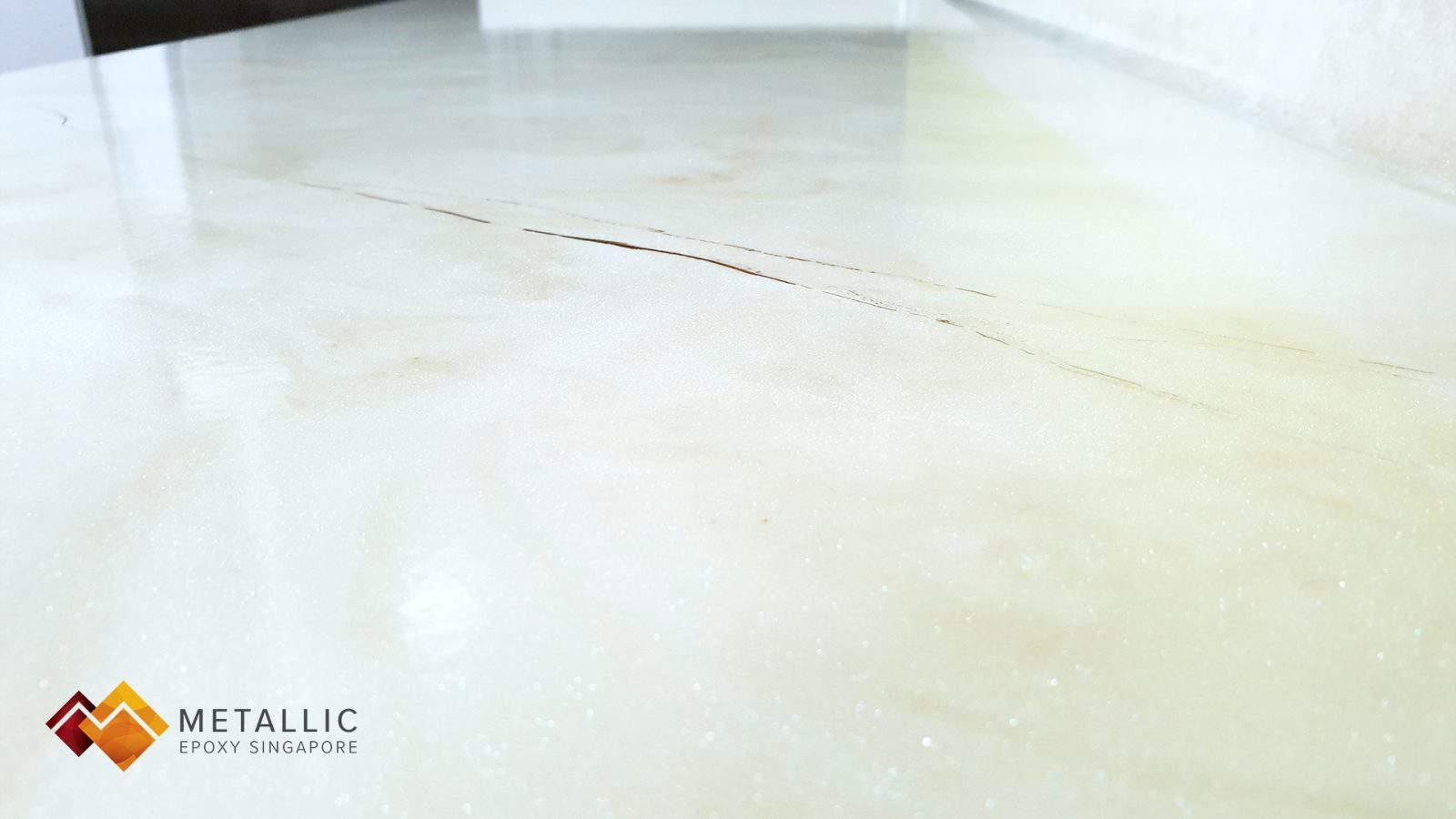 Metallic Epoxy Singapore Macael White Marble Countertop