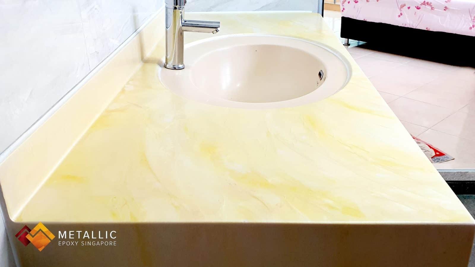 Metallic Yellow Vanity Top