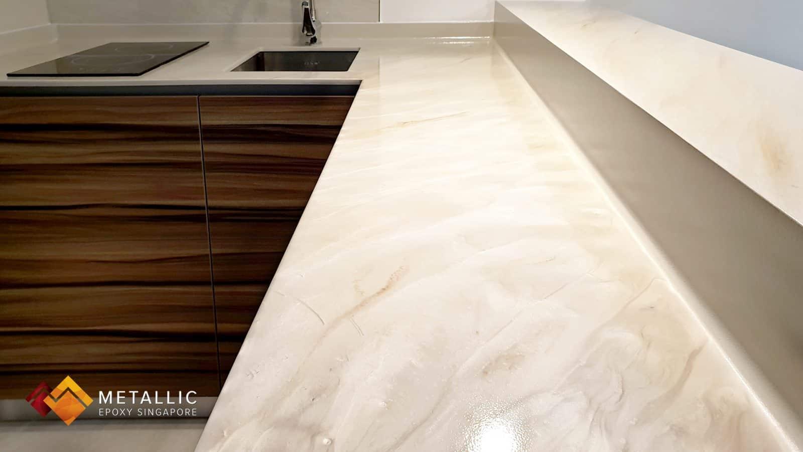 Metallic Epoxy Singapore Natural Stone Marble Countertop