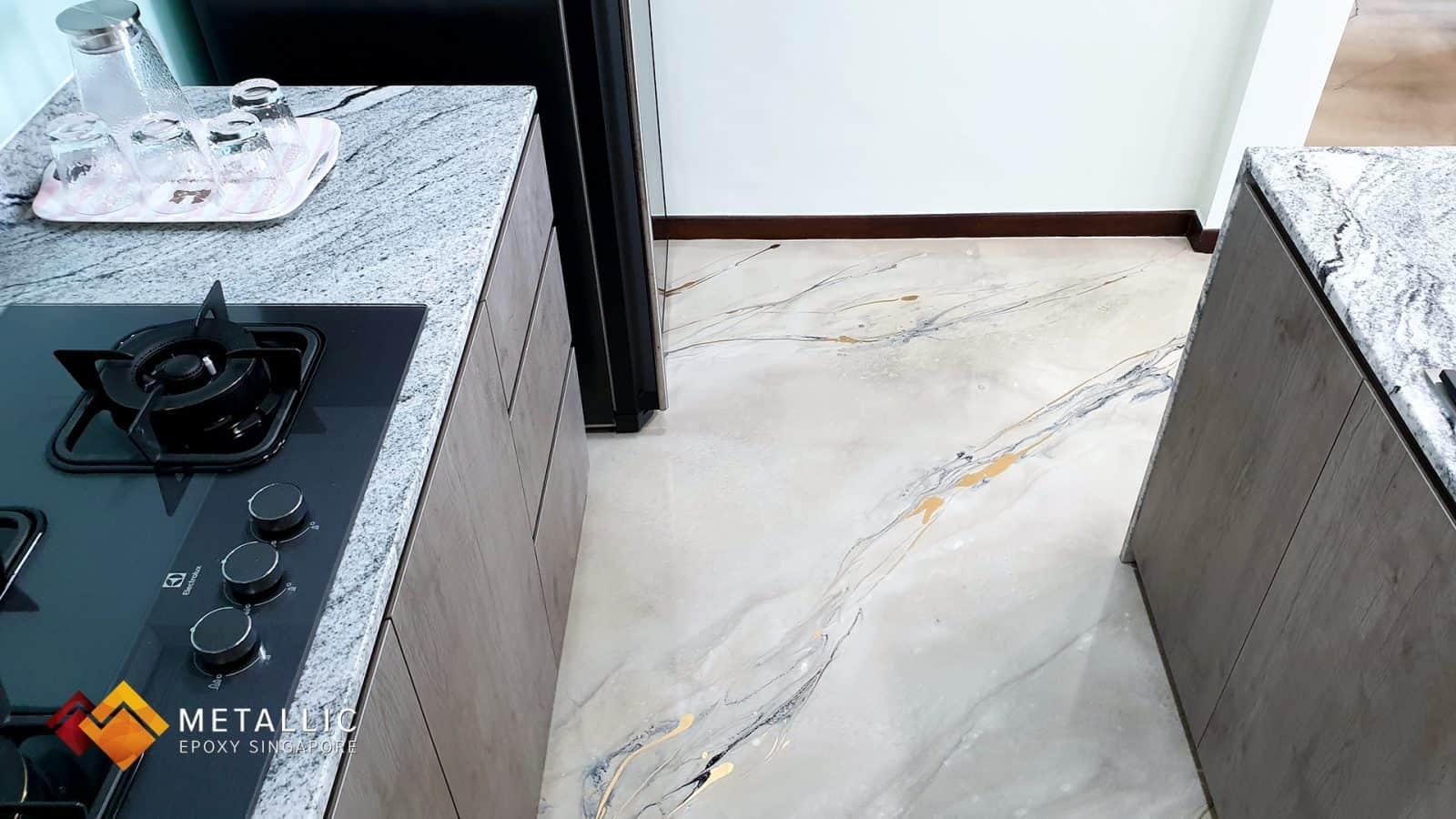 metallic epoxy khaki living room floor