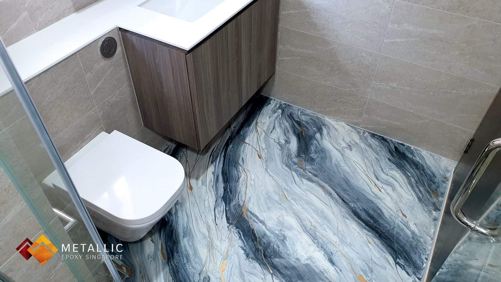 White Charcoal Bathroom Flooring