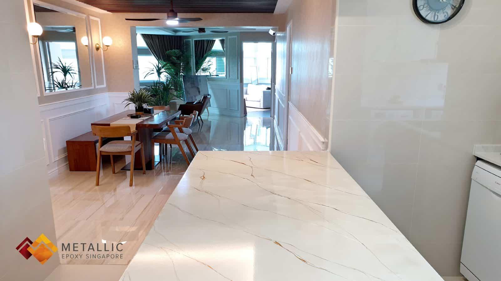 Navajo White Marble Countertop