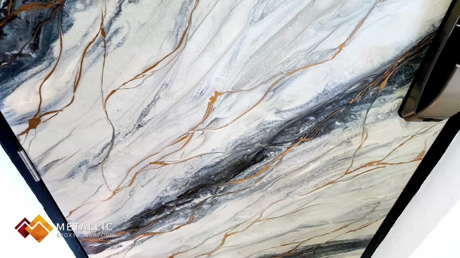 metallic epoxy singapore Grey Silver Marble Door