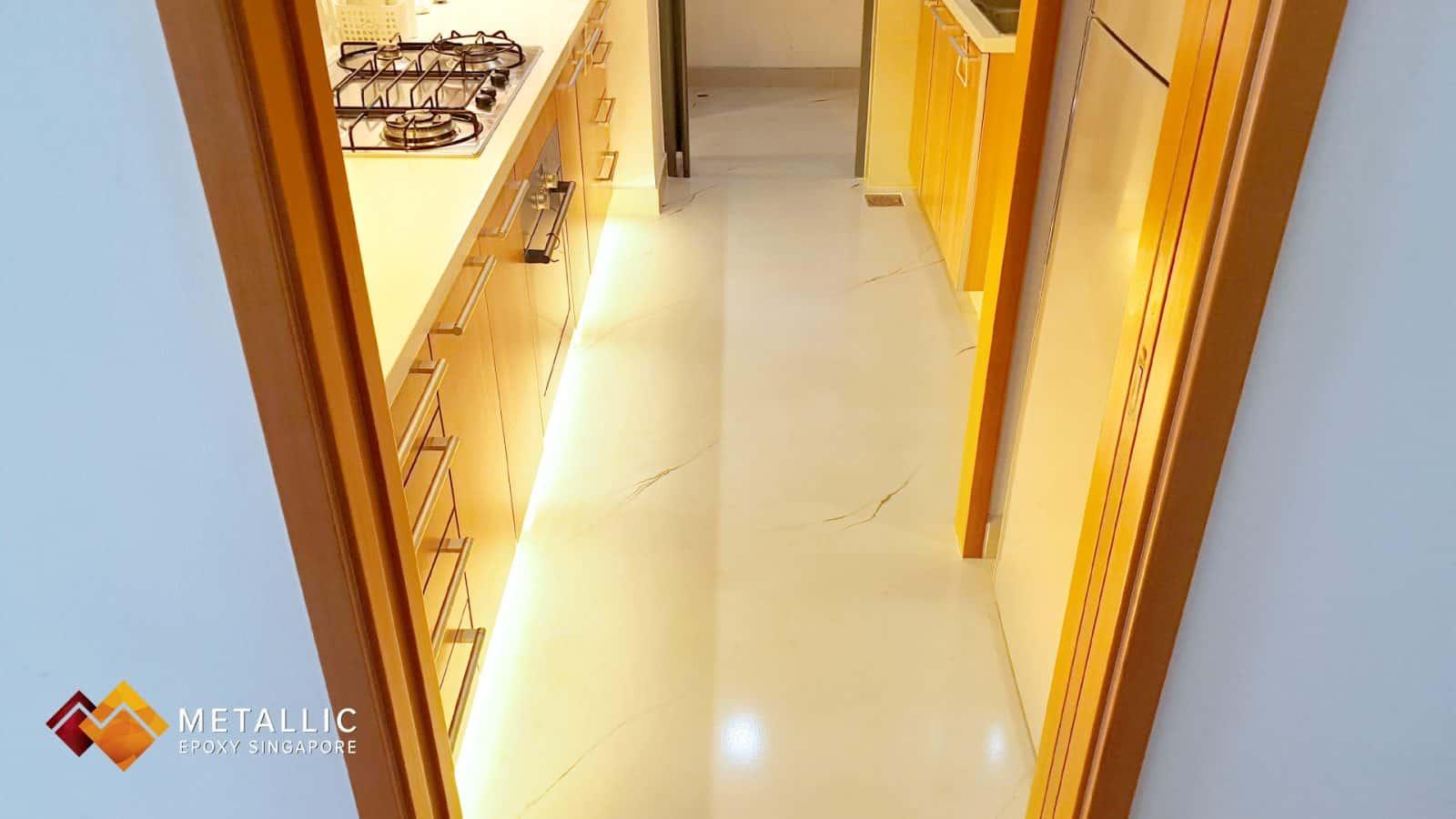 metallic epoxy brown marble kitchen floor