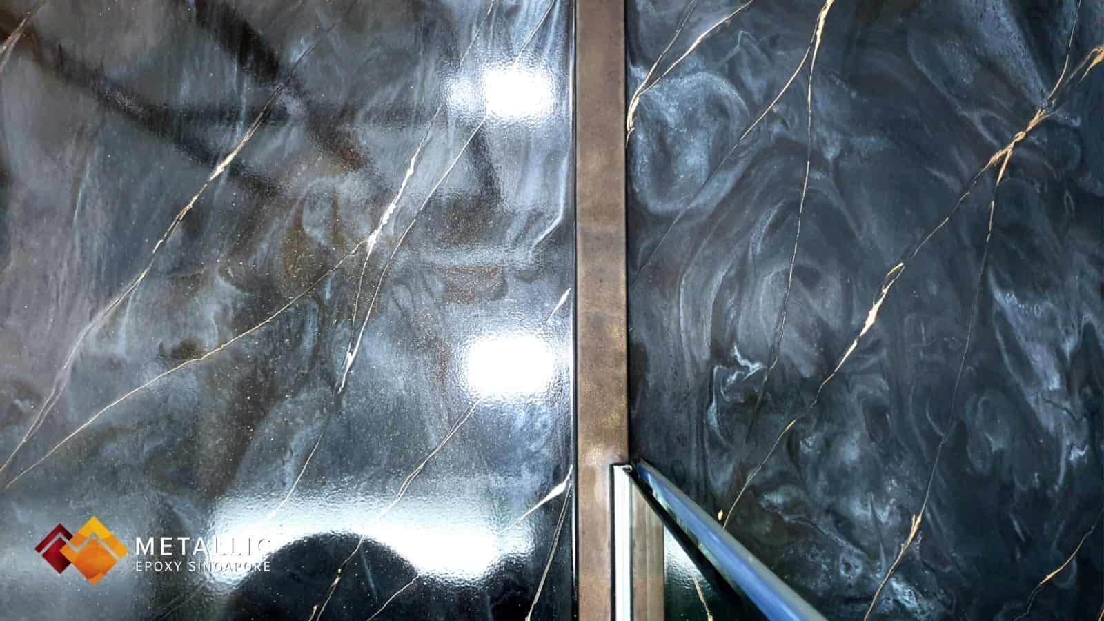 Metallic Epoxy gold coffee marble bathroom walls and floor