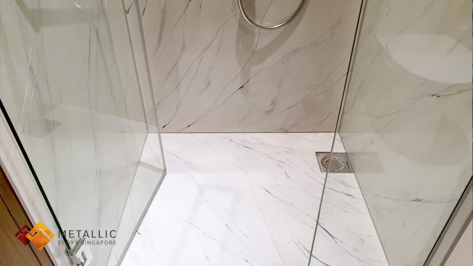 metallic epoxy singapore natural white marble bathroom