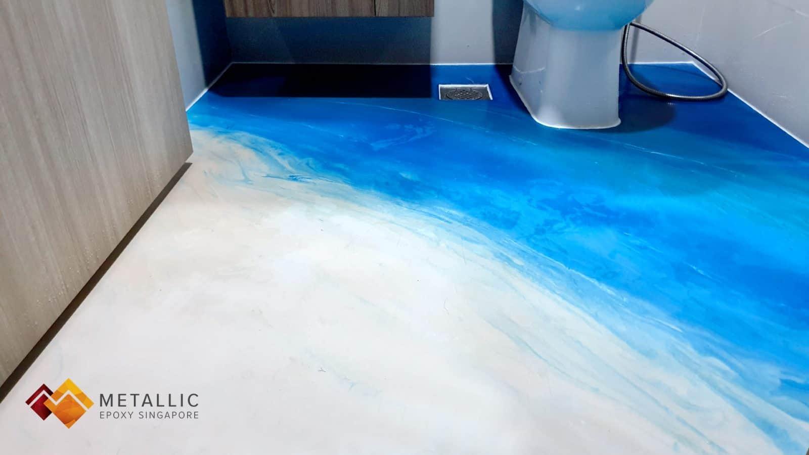 metallic epoxy singapore beach theme bathroom floor