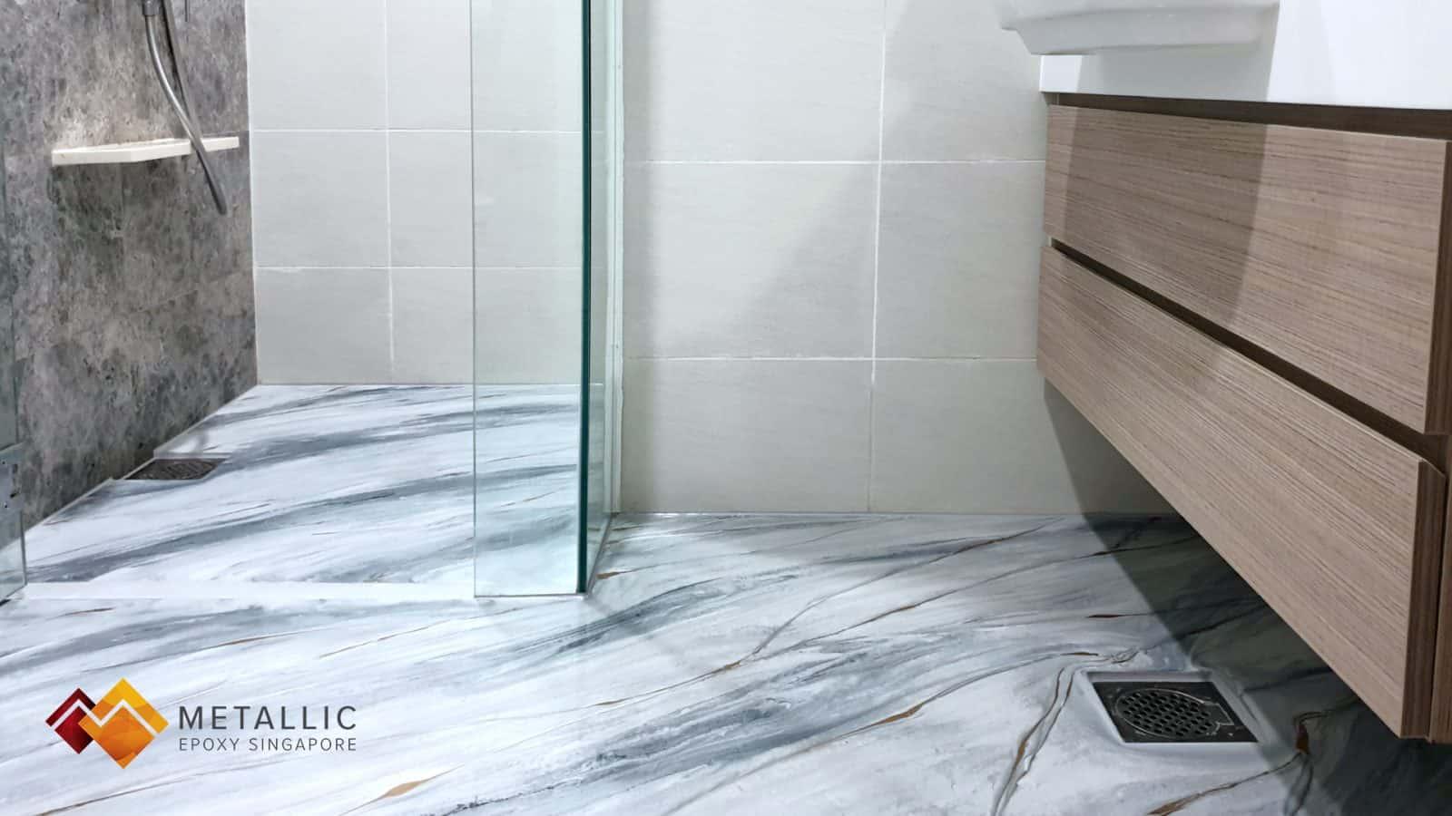 White Grey Bathroom Flooring
