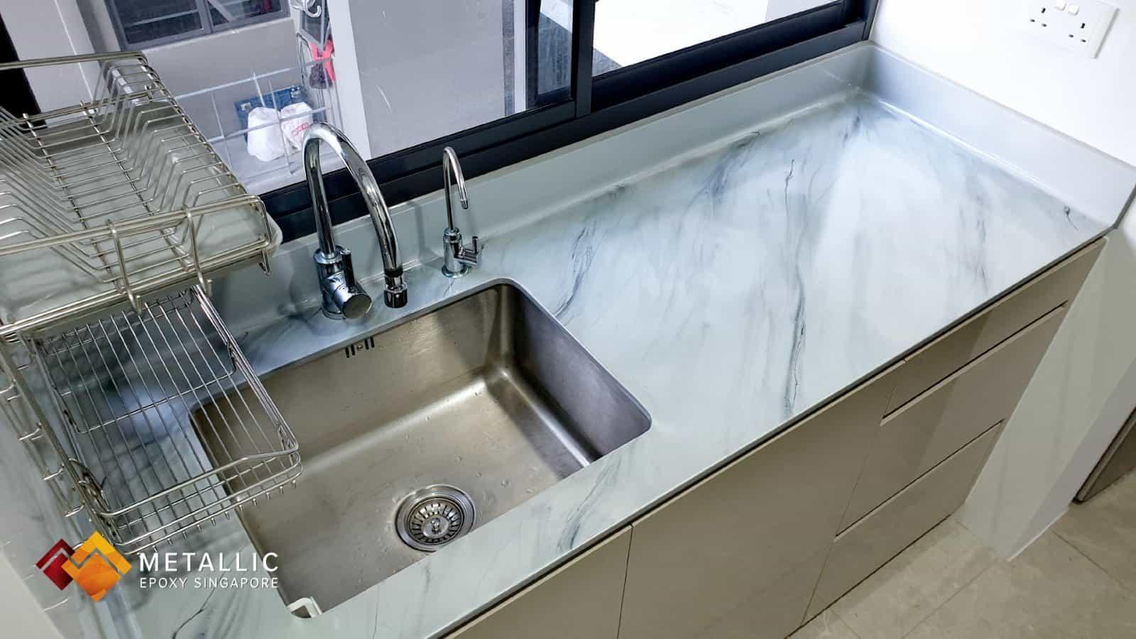 metallic epoxy grey marble kitchen countertop