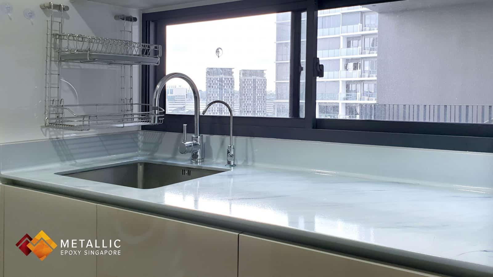 White Grey Marble Countertop