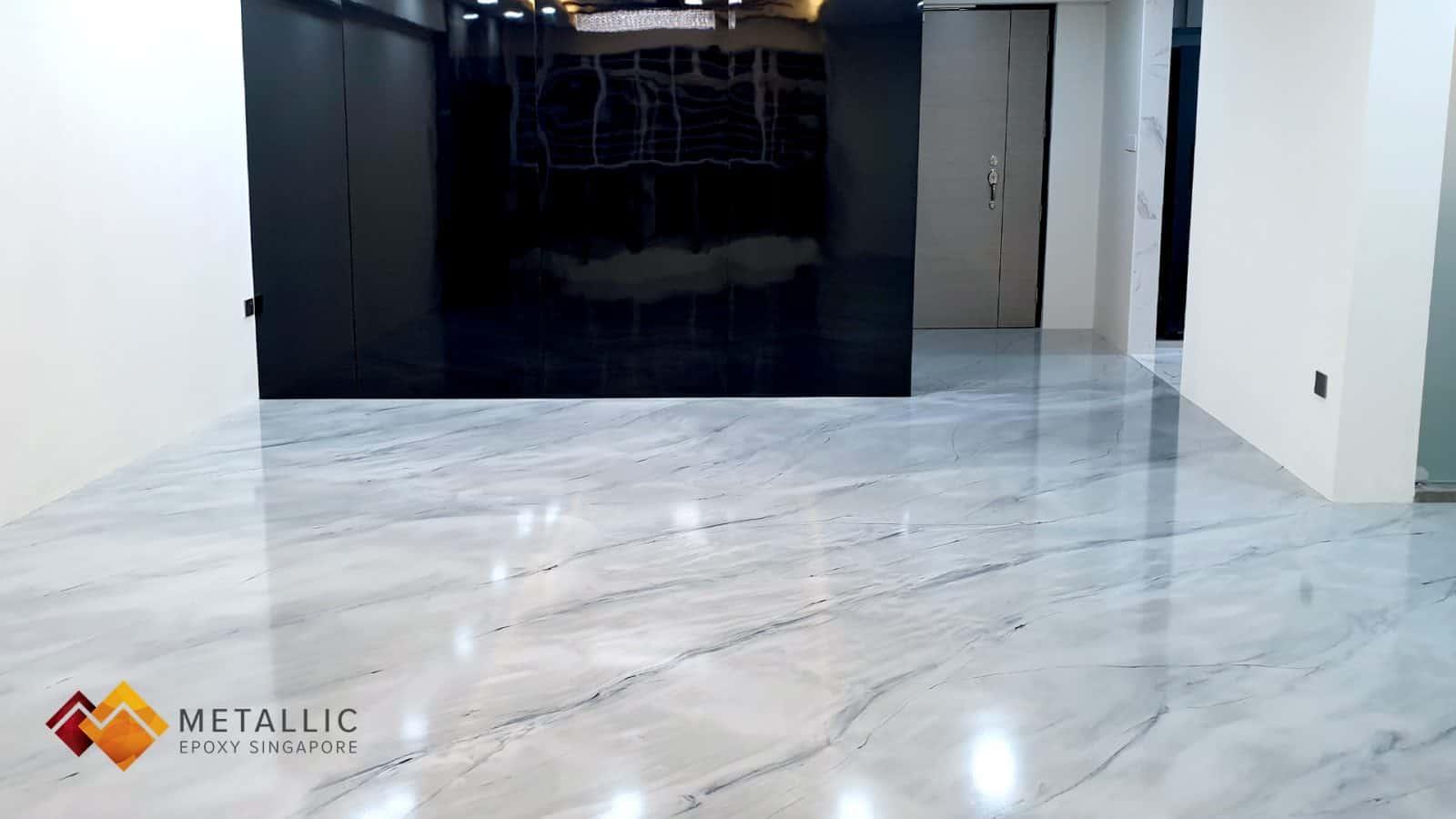 Metallic Epoxy Singapore Grey Mixed Marble Flooring