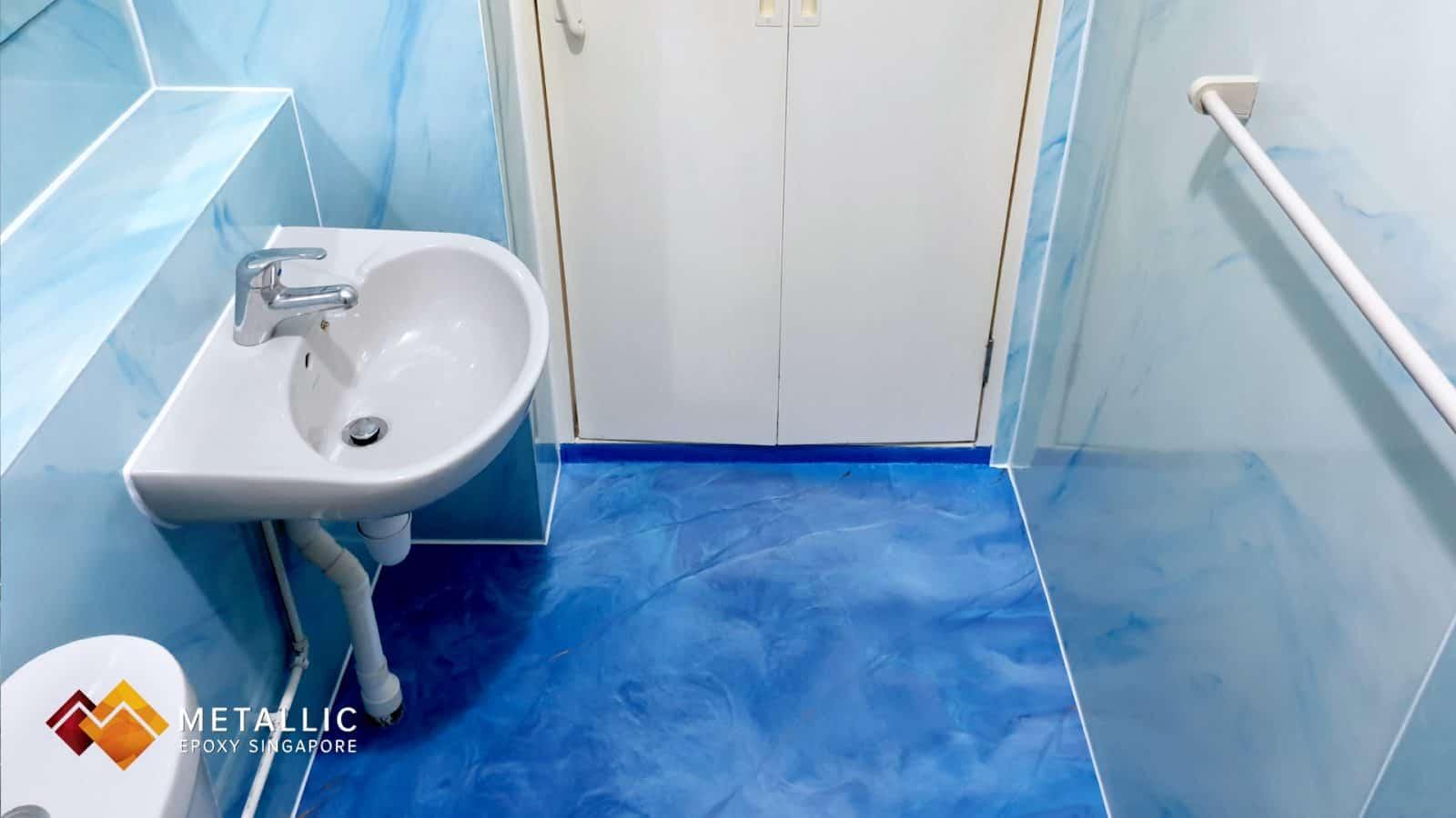 Blue Mixed Marble Bathroom