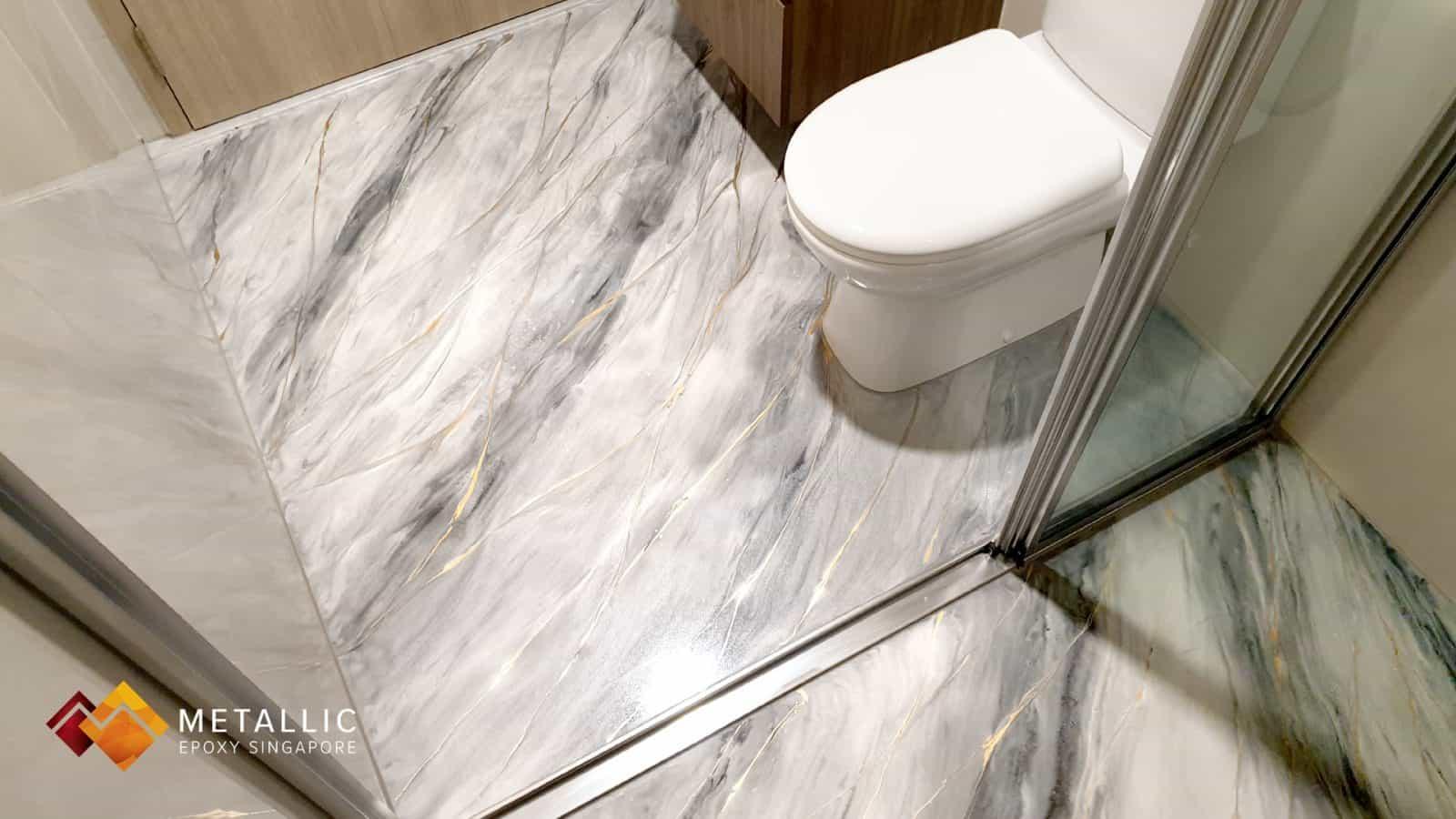 metallic epoxy singapore grey silver gold marble bathroom floor