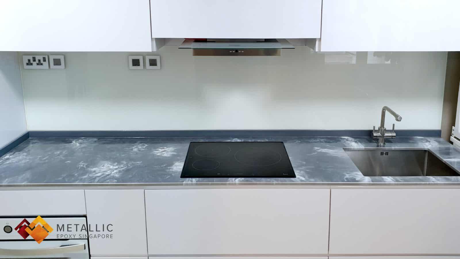 White Metallic Silver Countertop