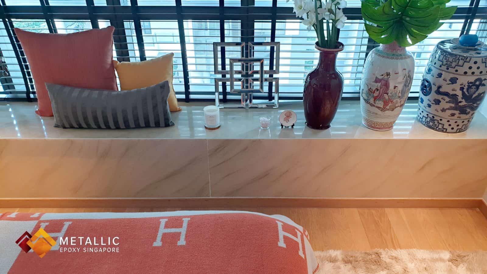 Metallic Epoxy Singapore Khaki Marble Highlights Countertop