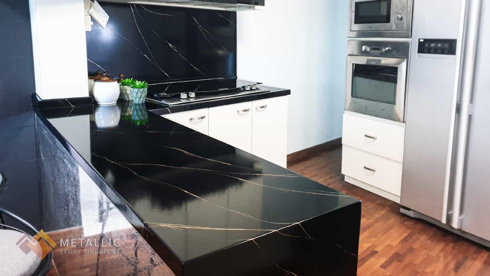 Metallic Black Glitter Countertop