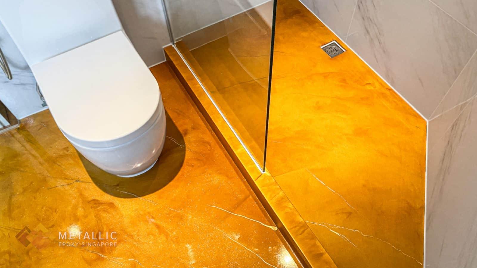 Orange Gold Bathroom Flooring