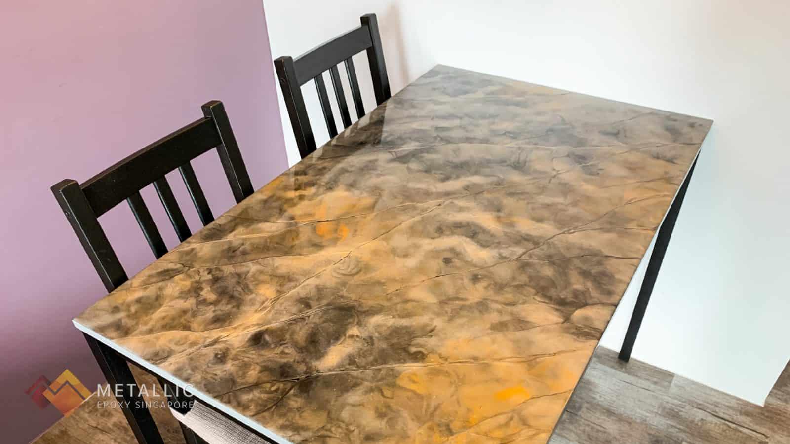 Titanium Orange Marble Tabletop