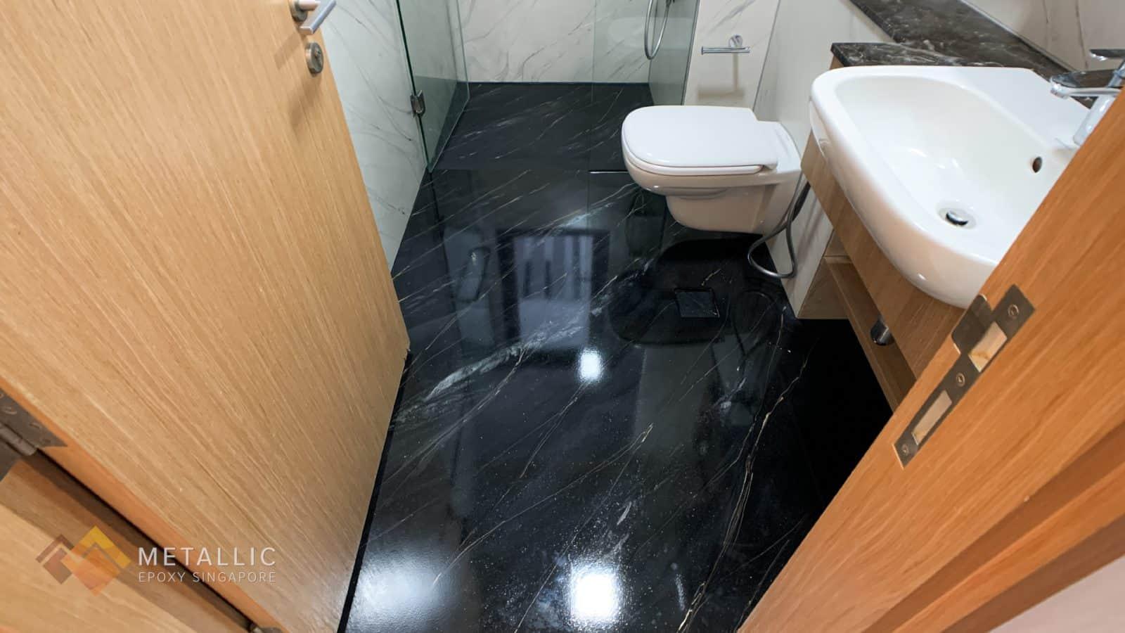 Metallic Black Bathroom Flooring