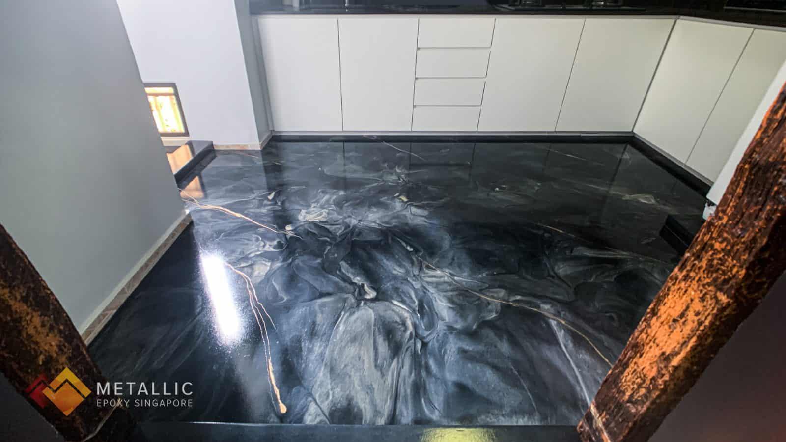 Black Gold Marble Flooring