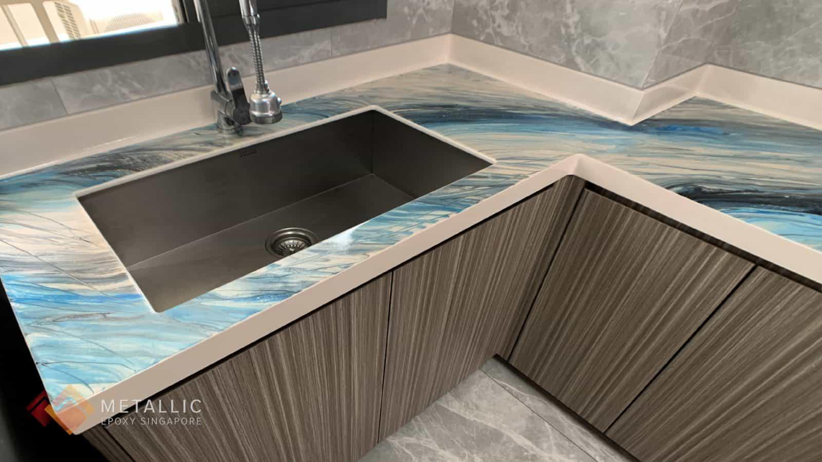 Black Blue Oceanic Countertop
