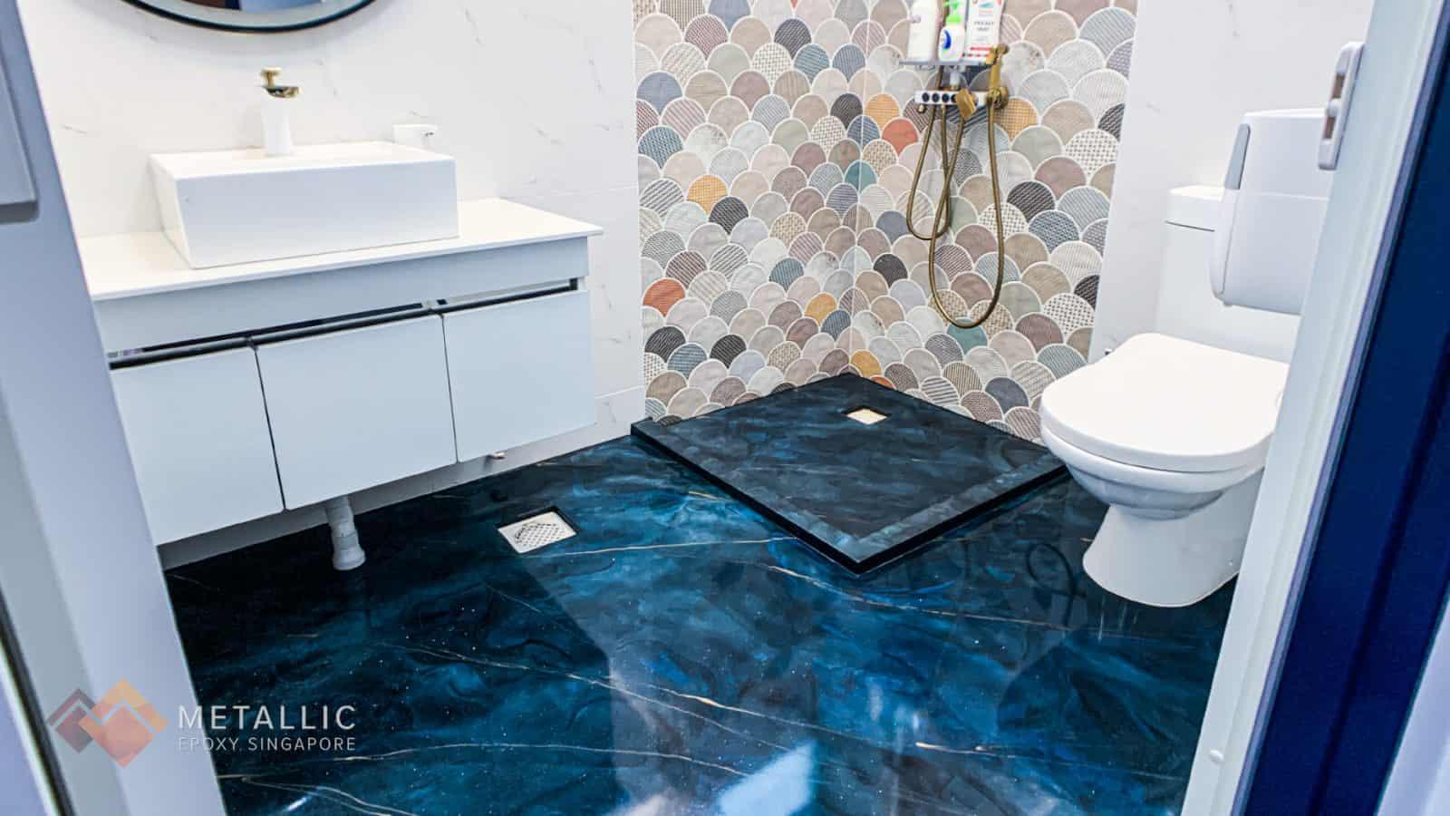 Deep Blue Bathroom Flooring
