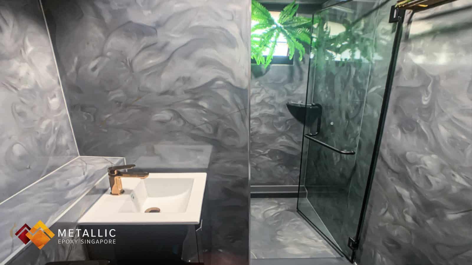 Cloudy Grey Galaxy Bathroom