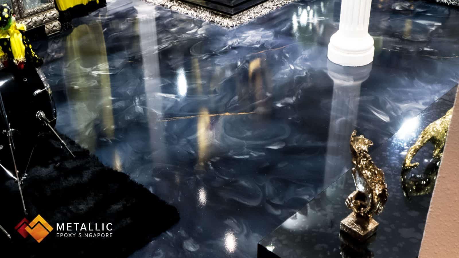 Metallic Epoxy Flooring Deep Blue Galaxy Design
