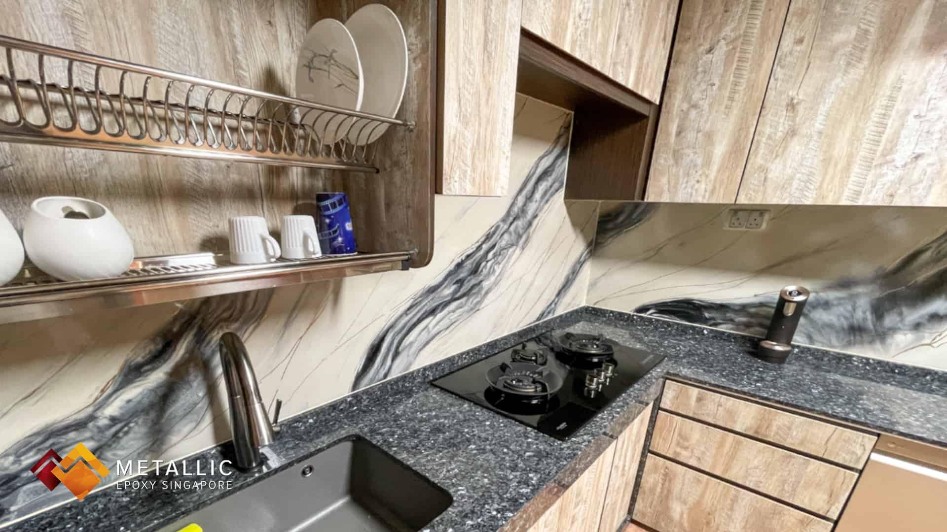 Black Silver Kitchen Backsplash